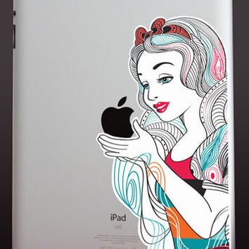 iPad decal, iPad sticker, abstract Snow White vinyl decal, Mac decal, MacBook decal, laptop sticker, ipad mini decal, tablet sticker