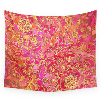 Society6 Hot Pink And Gold Baroque Floral Pattern Wall Tapestry