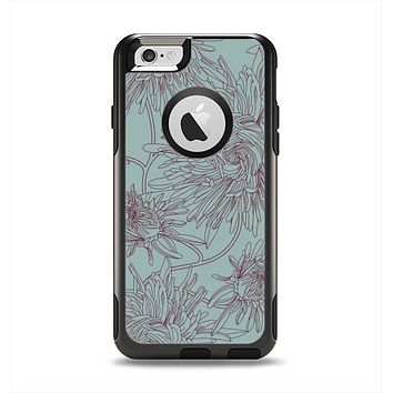 The Teal Aster Flower Lined Apple iPhone 6 Otterbox Commuter Case Skin Set