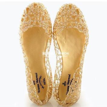 Women Jelly Sparkle Sandals Fretwork Crystal Flat Shoes Black / Golden / Pink / Silver