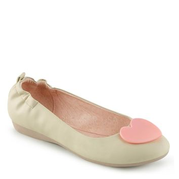 Pin Up Couture Cream Olive Heart Ballet Flats