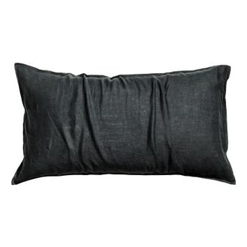 Washed linen pillowcase - Anthracite grey - Home All | H&M GB