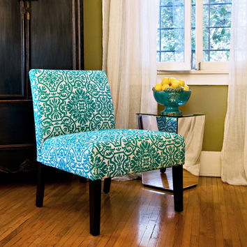 angelo:HOME Bradstreet Modern Damask Turquoise Blue Upholstered Armless Chair | Overstock.com Shopping - The Best Deals on Living Room Chairs