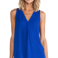 Bella Luxx Henley Tank in Blue
