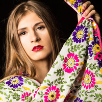 Hand Embroidered Floral Chiffon Phulkari Scarf with Sequins - Free shipping in US