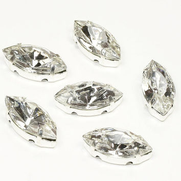 Pack of 6 Rhinestone/Diamante/Crystal Sew On Navettes (15x7mm) - Accessories, Cakes, Bouquets, Jewellery, Costume!