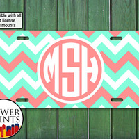 Chevron Pattern Monogram Coral White and Mint Green Cute Initials Accessory For Front License Plate Car Tag One Size Fits All Vehicle Custom