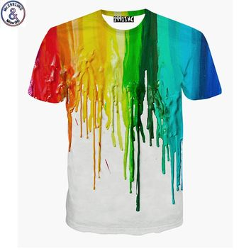 Mr.1991 brand new Paint splashing 3D printed t-shirt for boys or girls 6-20 years teens big kids t shirt children cloth A47