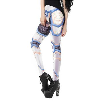 Hero Armor Women's Powder Blue & White Slim High Waisted Elastic Printed Fitness Workout Leggings