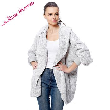 2017 Fashion Oversized Fleece Cardigan Women Two-Tone Poncho Capes Batwing Open Front Poncho Shrug Cardigan With Hood