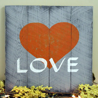 Pallet Sign Distressed Wood Signage Wallhanging Rustic Shabby Chic Wall Decor Rustic Wood Gray Orange Handpainted Wall Sign