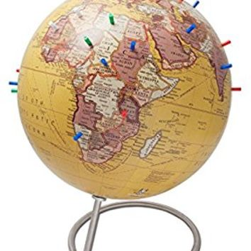 "Bull's Eye Antique Tan Magnetic World Globe - 10"" World Desk Globe with a stand with magnetic pins perfect gift for Dad or kids that love geography!"