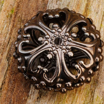 Antique Gunmetal Filigree Bead 23 x 12mm 1pc Jewellery Findings Jewellery Making diyforstyle