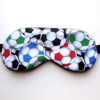 Sleep Mask Boys Eyemask, Kid Child Soccer Balls, Gift Present Black Fleece Satin Cotton, Travel Night Nap Eye Shade Cover, Blindfold Sports