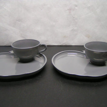 Hazel Atlas Orchard Snack Sets (2) Gray Apple Plate & Cup 1950's Mid Century Modern Hostess Gift Moderntone Entertaining Collectible Kitchen