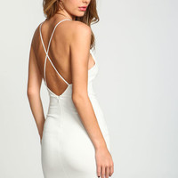 IVORY MINIMALIST X BACK DRESS