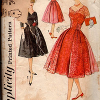 1950s Simplicity Sewing Pattern 2756 Retro Rockabilly Swing Garden Tea Cocktail Party Dress Fit Flare Skirt Scallop Neckline Bust 38
