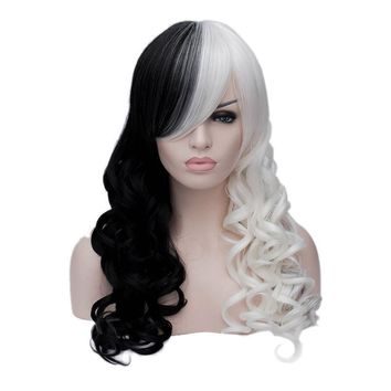 Cool Cruella Deville Side Bangs Half White and Black 65cm Wavy Long Synthetic Cosplay Wig Hair + Wig CapAT_93_12