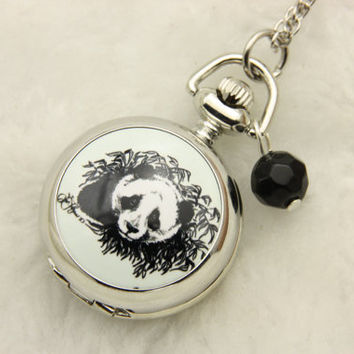 Necklace Pocket watch vintage panda by BEATAREN on Etsy