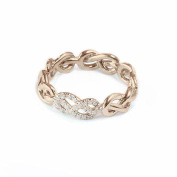 Rose Gold Wedding Band, Infinity Knot Ring, Diamond Wedding Ring, Unique Rings, Womens Wedding Bands, Infinity Ring Gold