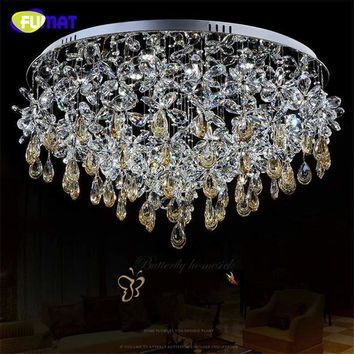 FUMAT K9 Crystal Chandelier Ceiling Modern Crystal Lightings Living Room Round LED Lamp Home Decor Butterfly Crystal Lustre