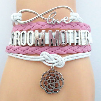 FREE Infinity Love (PINK) Groom Mother Bracelet - Hand Made Leather Strap Wrap