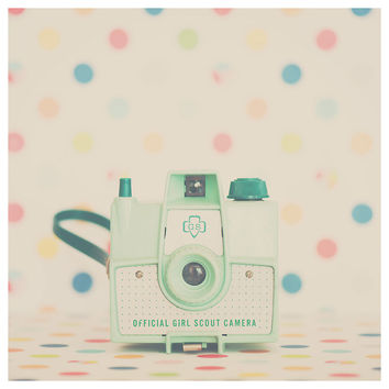 girl scout camera, camera photograph, mint, polka dots, rainbow, still life photograph, color photography, retro
