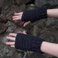 Charcoal Gray Fingerless Gloves - Crochet Fingerless Mittens - Ladies Hand Warmers - Womens Wrist Warmers