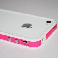 White Hot Pink Open Back Bumper Case Cover for Apple Iphone 4 4s