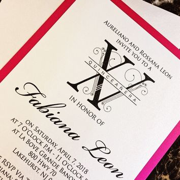 Hot Pink and Silver Quinceanera Invitations