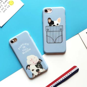 Lovely bulldog printed plastic Case Cover for Apple iPhone 7 7Plus 6 Plus 6 -05012