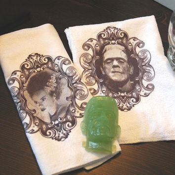 Frankenstein and Bride Guest Bathroom Towel Set with Frankenstein Soap Gothic Home Decor