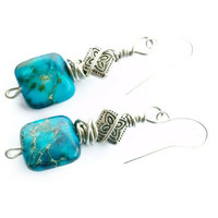 Splatter Blue:  Blue, multi colored Jasper, square earrings, silver color wire