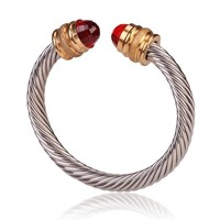 Style Cable Bracelet Polished/Matte Gold with Red Crystal Gem