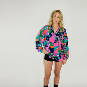80s oversized blouse art pop abstract graphic print neon shirt club kid colorful top button down gypsy S M L