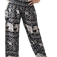 Womens Pants Bohemian Hippie Boho Yoga Smocked Waist