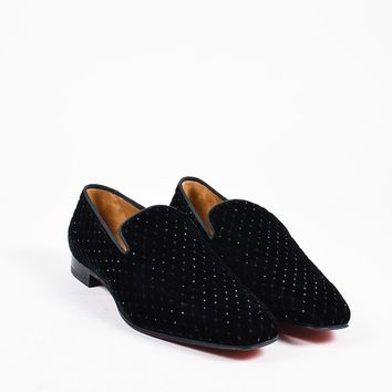 KUYOU Men  s Black Velvet Crystal Christian Louboutin  Dandy  Loafers