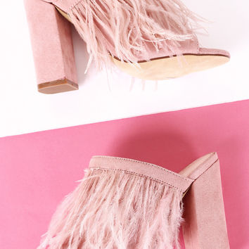 Suede Faux Feather Chunky Mule Heel