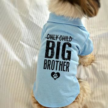 Small Dog Polo Shirt. Only Child Big Brother Polo Dog Shirt. Pet Clothes. New Baby Gif