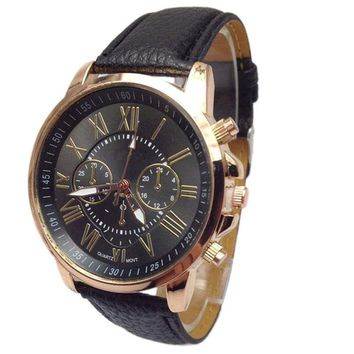 Women Luxury Geneva Watch PU Leather Quartz Watch