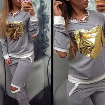 2 Piece Top And Pants Hollow Out Gold Heart Sweatsuit
