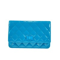 Chanel Special Edition Wallet On Chain in Turquoise Patent Leather