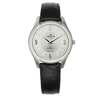 Croton Womens Stainless steel Silvertone Leather Strap Watch
