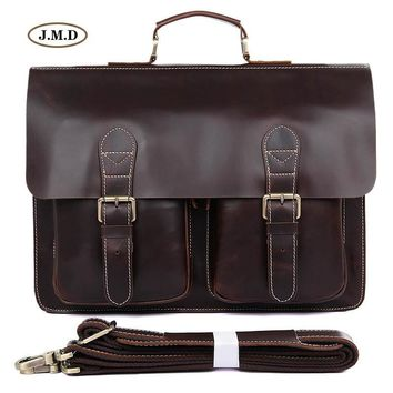 J.M.D Genuine Leather Men's Fashion Brown Classic Style Special Design Laptop Handbag Business Briefcase Shoulder Bag 7105Q-1