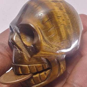Tiger eye Skull carving/Golden tigers eye/gemstone carving/skull/crystal skull/human skull/skull sculpture/rock and mineral/gemstone skull