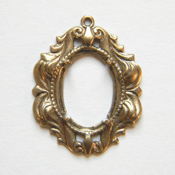 Brass Ox Oval Prong Cameo Setting Cabochon Pendant 18mm x 13mm - 1 pc.