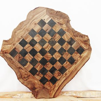 Engraved Olive Wood Chess Board, Wooden Chess Set Game, Dad gift, Granddad Gift, Grandpa Gift