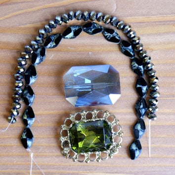 Crystal beads, Black, Peridot, Metallic Rain, Blue, Grey, Pendant, earrings, necklace, jewelry making supplies, destash, sale