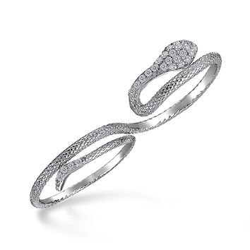 Boho Fashion CZ Pave Serpent Snake Two Finger Ring 925 Sterling Silver