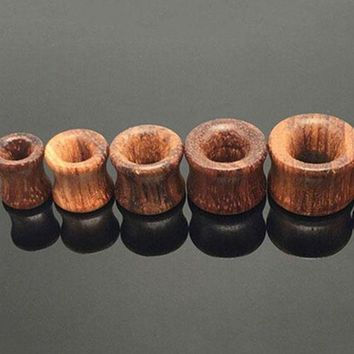 ac DCCKO2Q Solid Organic Natural Double Flared Saddle Ear Plugs Flesh Tunnels Hollow Gauge